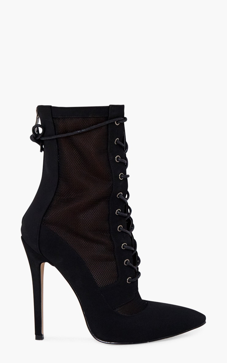 Black Mesh Insert Lace Up Boots 3