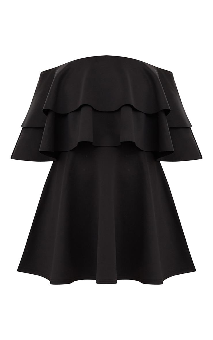 Black Frill Bardot Skater Dress 3