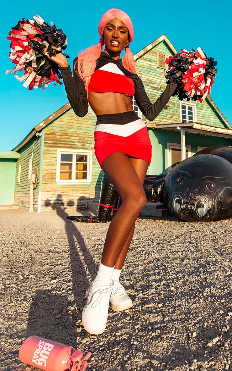 Red Cheerleader High Neck Striped Long Sleeve Crop Top 4