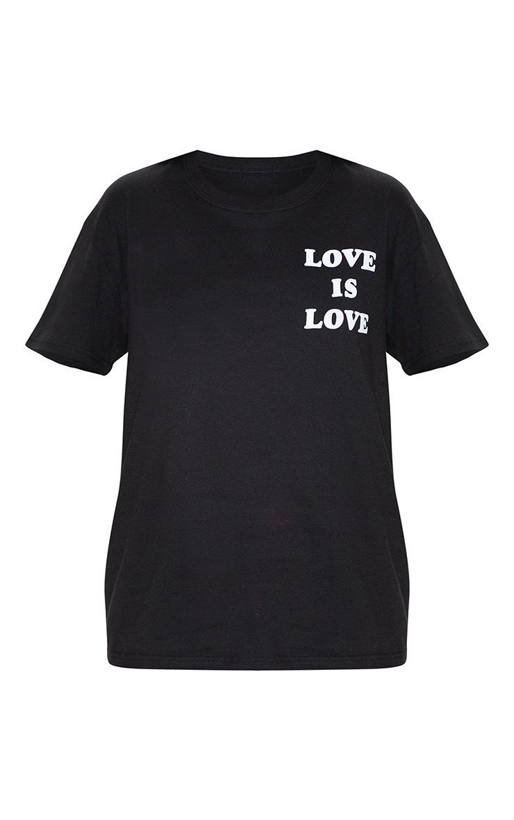 UNISEX Black LOVE IS LOVE Oversized T-shirt  4