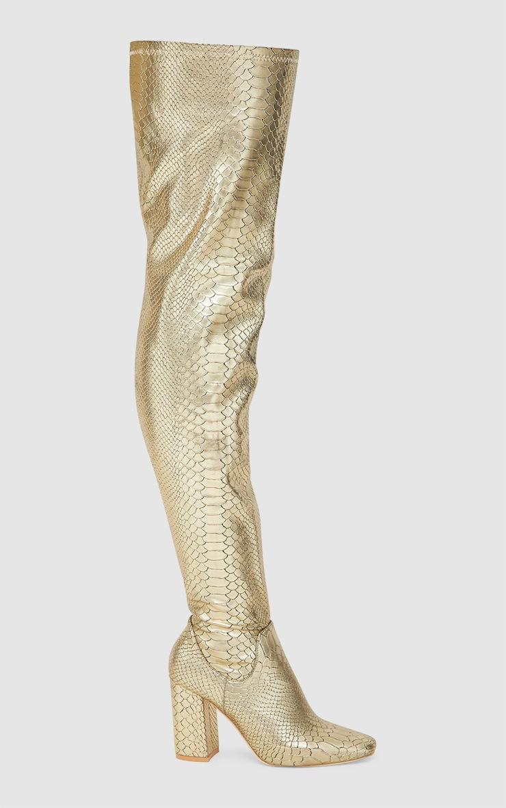Gold Snake Effect Thigh High Boot 3