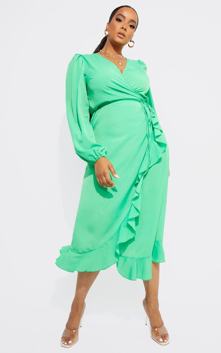 Plus Bright Green Ruffle Wrap Front Midi Dress 1