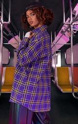 Purple Unisex Check Flannel Oversized Shirt 3
