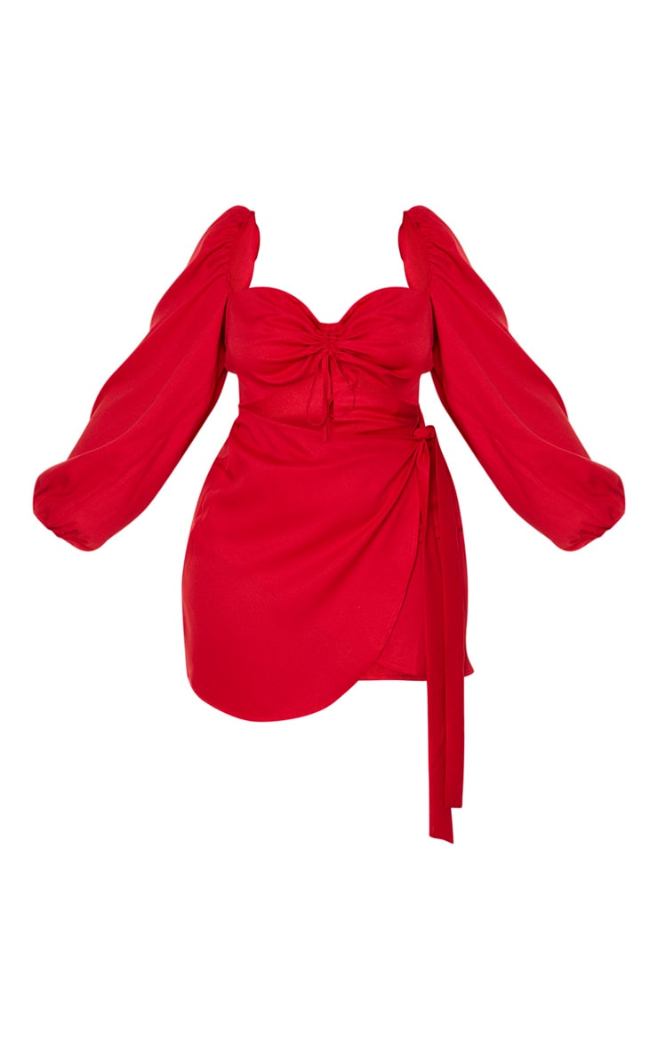Plus Red Ruched Cut Out Bodycon Dress 3