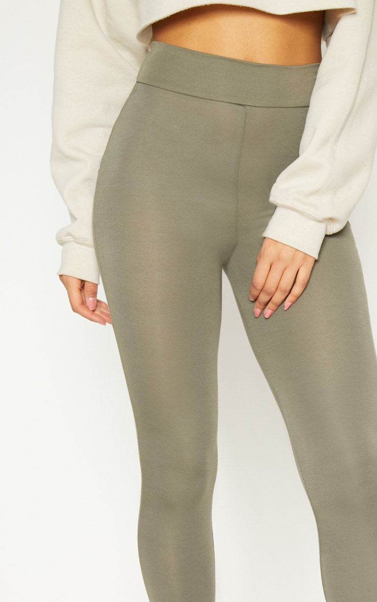 Basic Khaki High Waisted Jersey Legging 5