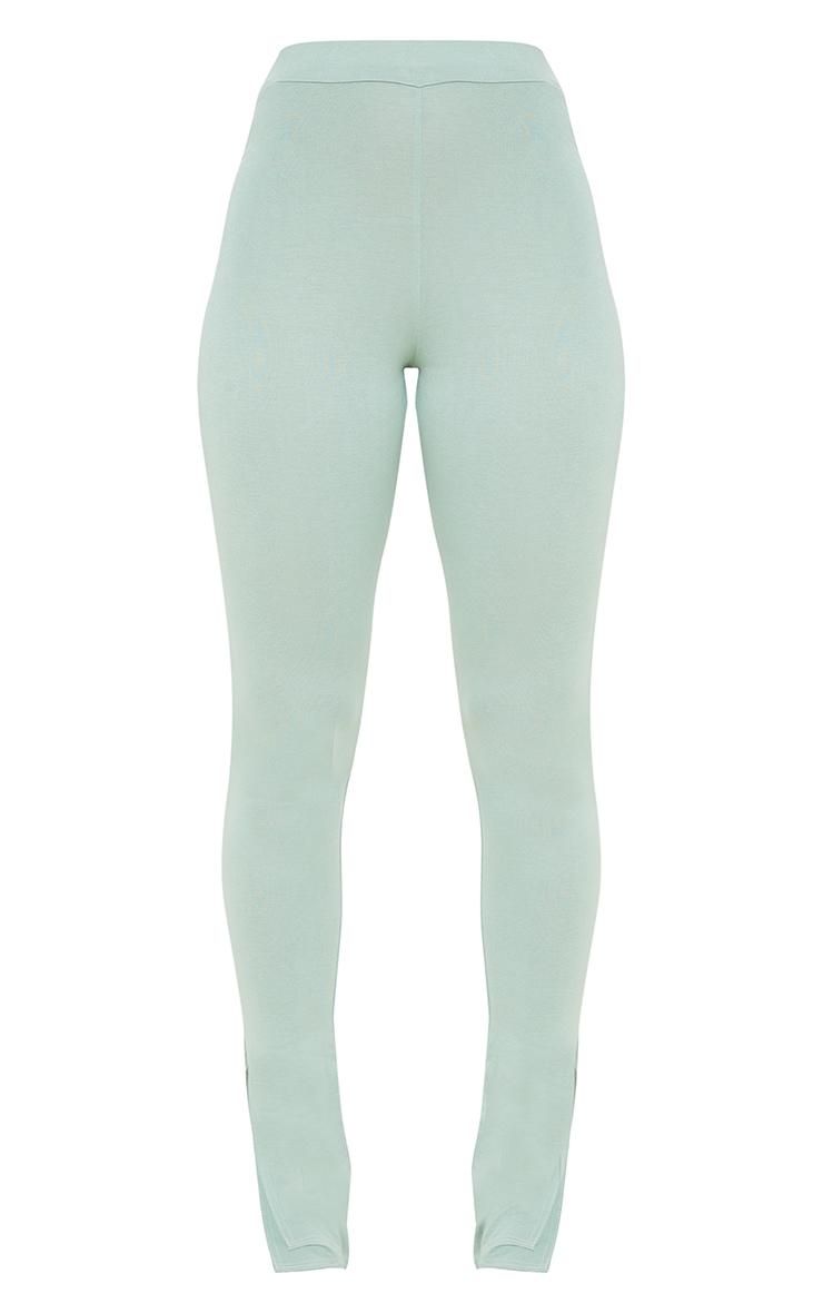 Sage Green Jersey Split Hem Leggings 5