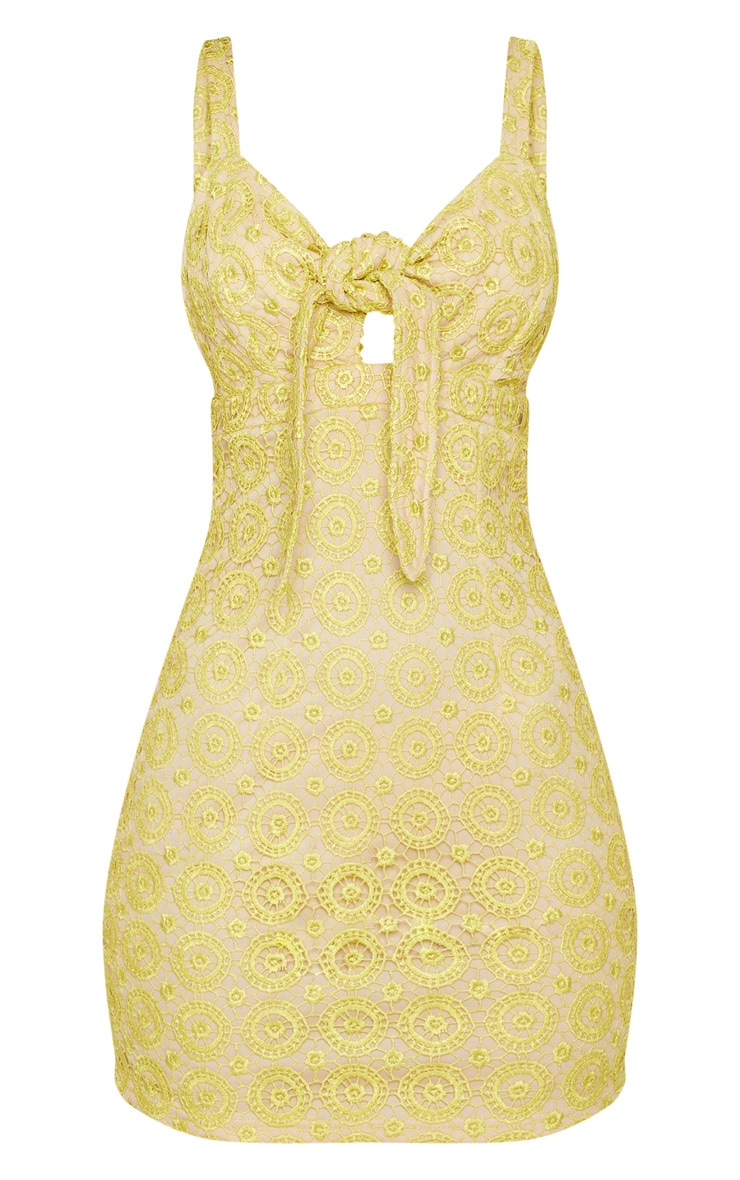 Yellow Strappy Lace Tie Front Bodycon Dress 3