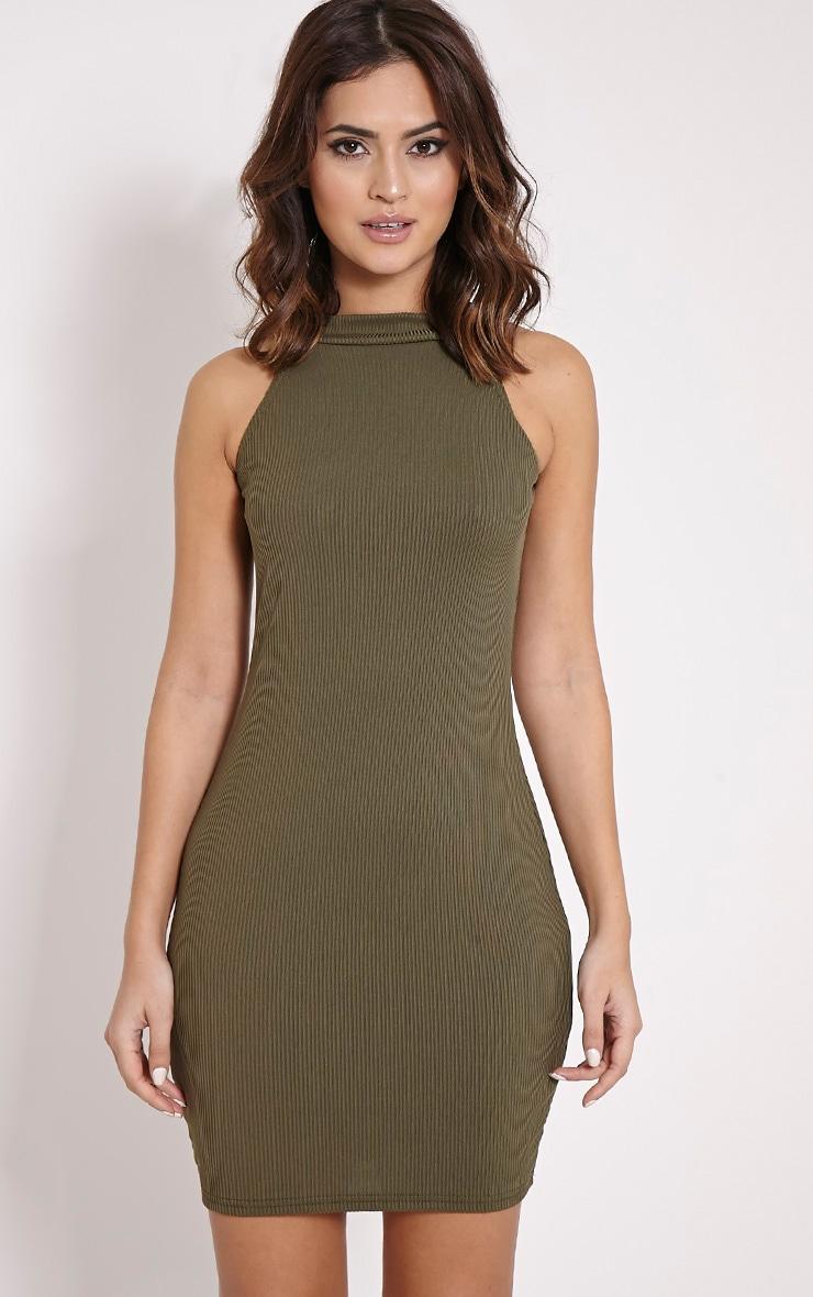 Basic Khaki Ribbed Vest Bodycon Dress 1
