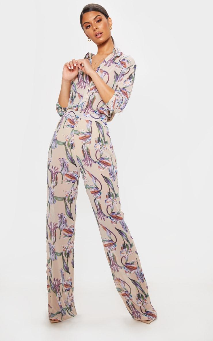 94da55ebc3 Dusty Pink Satin Floral Print Wide Leg Trouser | PrettyLittleThing USA