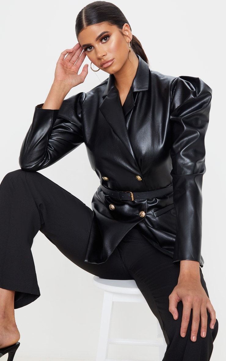 Black Faux Leather Belted Puff Sleeve Blazer 1