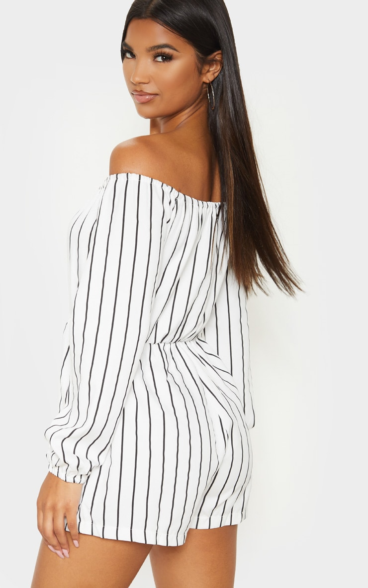 Kennie White Stripe Romper 2