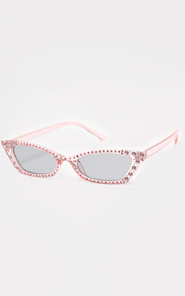 Pink Diamante Slim Cat Eye Sunglasses 2