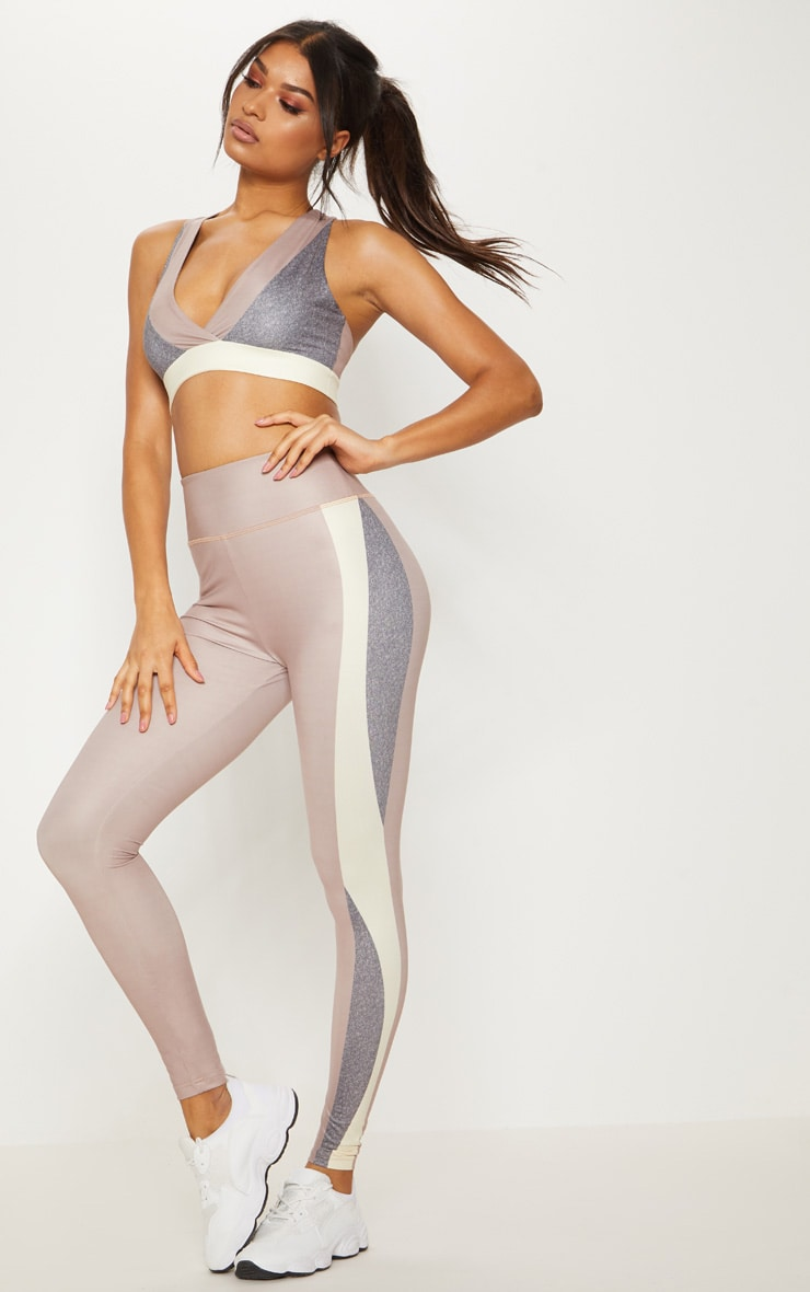 Taupe Contrast Panelled Sports Leggings 2