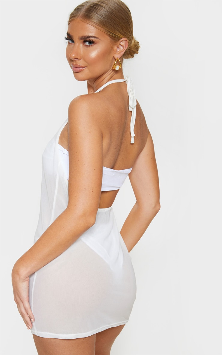 White Basic Mesh Beach Dress 2