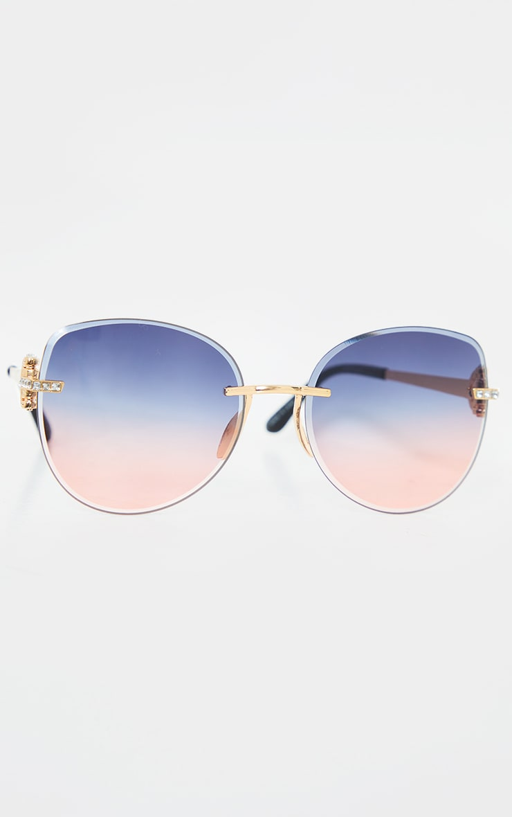 Pink Faded Round Frame Frameless Sunglasses 3