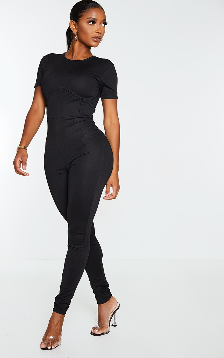 Shape Black Underbust Detail Short Sleeve Jumpsuit 3