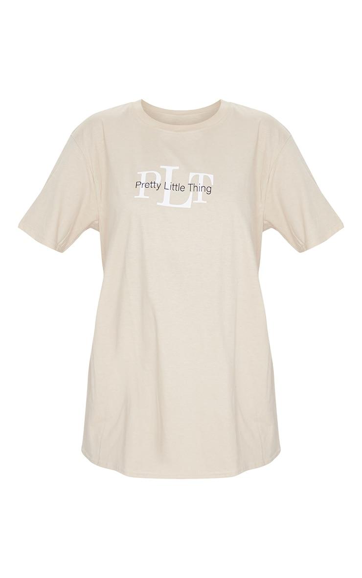 PRETTYLITTLETHING Sand Oversized Slogan T Shirt 6