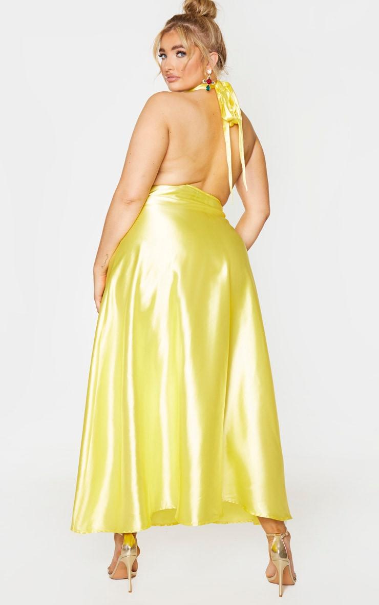 Plus Bright Yellow Satin Halterneck Maxi Dress 2