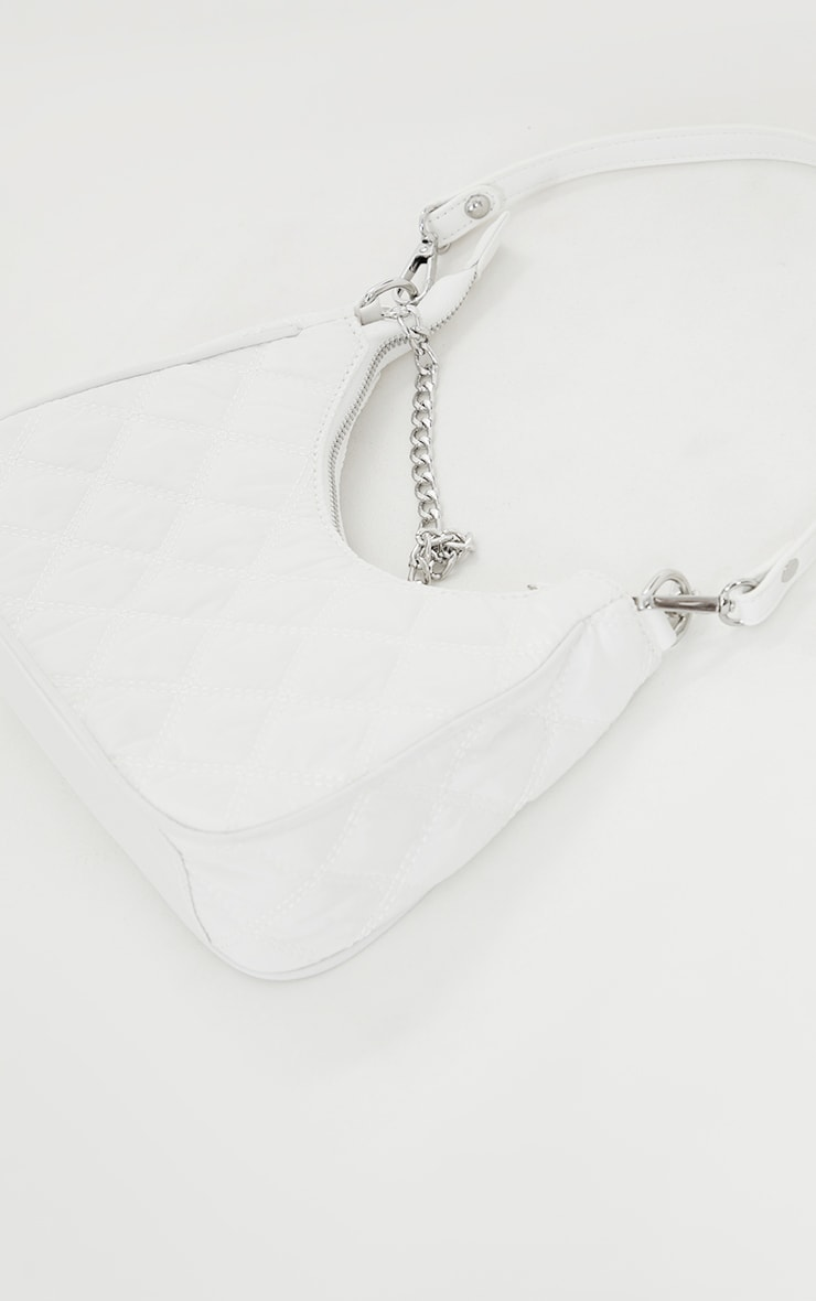 White Quilted Silver Chain Detail Shoulder Bag 2