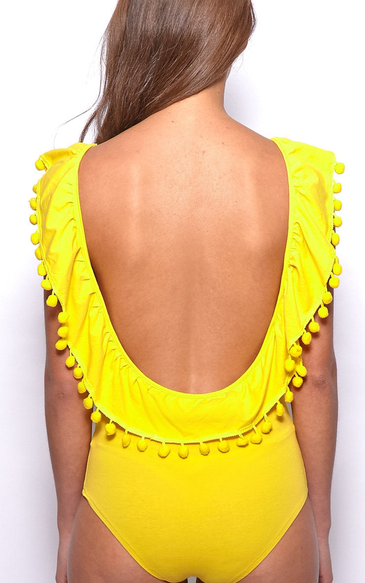 Bonnie Yellow Pom Pom Bodysuit 2