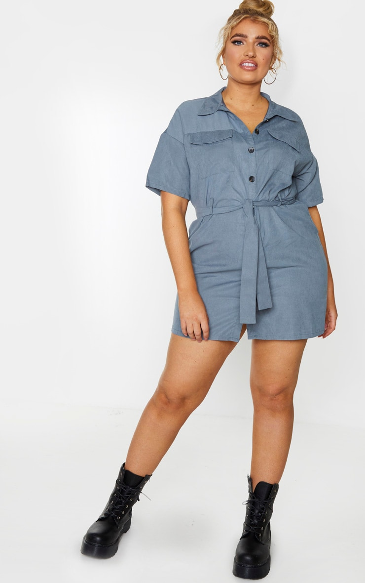 Plus Dusty Blue Faux Suede Utility Shirt Dress 3
