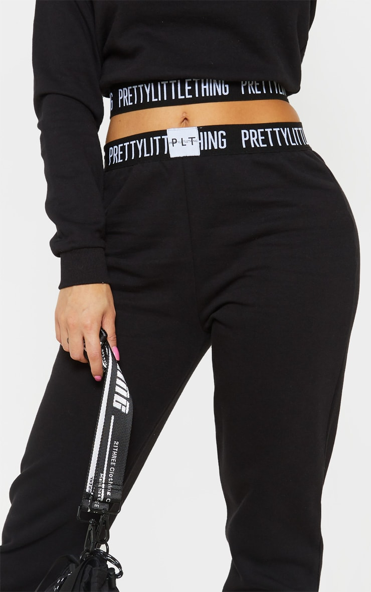 PRETTYLITTLETHING Petite Black Lounge Track Pants 5