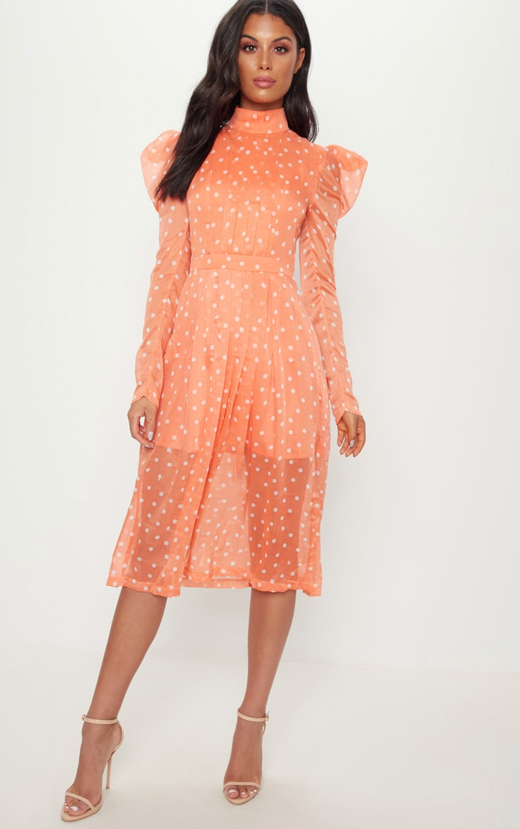 Orange Polka Dot Chiffon Midi Skater Dress 1