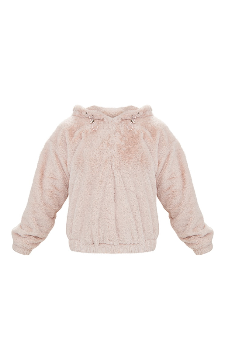 Pink Faux Fur Hooded Bomber 3