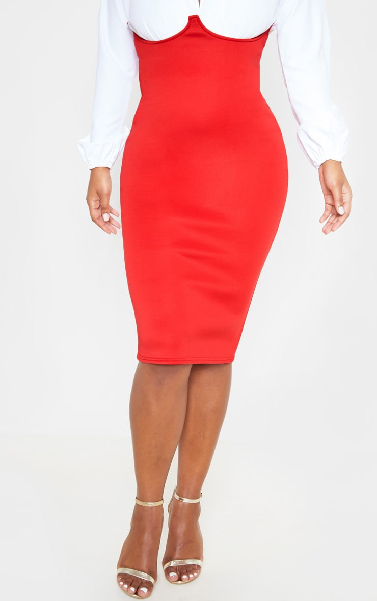 Red Scuba Bustier Midi Skirt 2