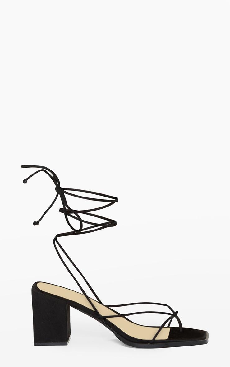 Black Square Toe Block Heel Strappy Toe Thong Sandals 3
