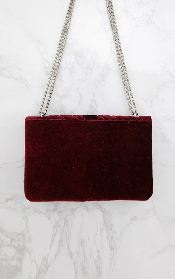 Burgundy Velvet Quilted Shoulder Bag 3