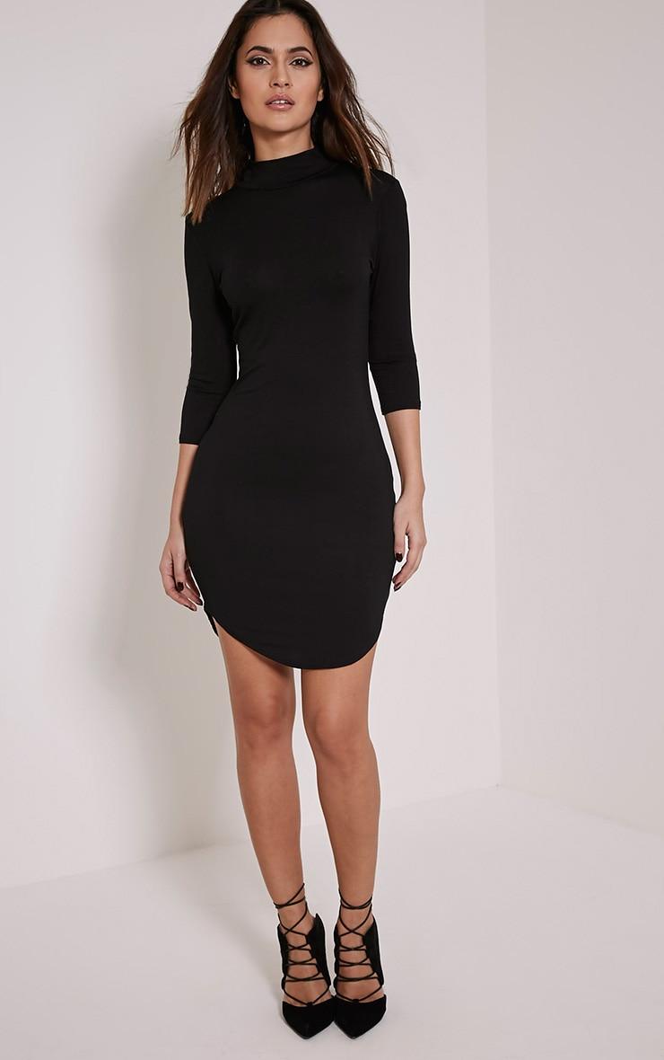 Alby Black 3/4 Sleeve Curve Hem High Neck Dress 4