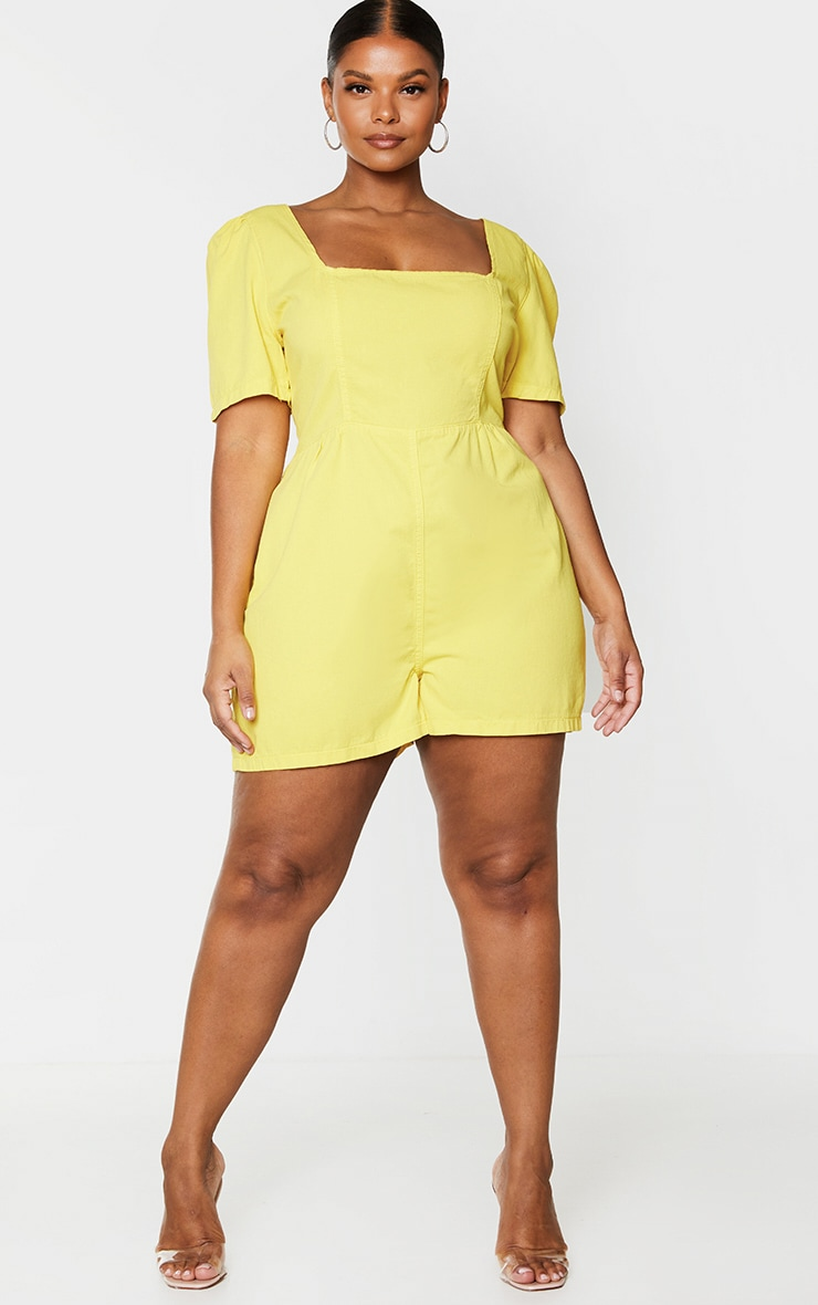 Plus Lemon Square Neck Denim Romper 3