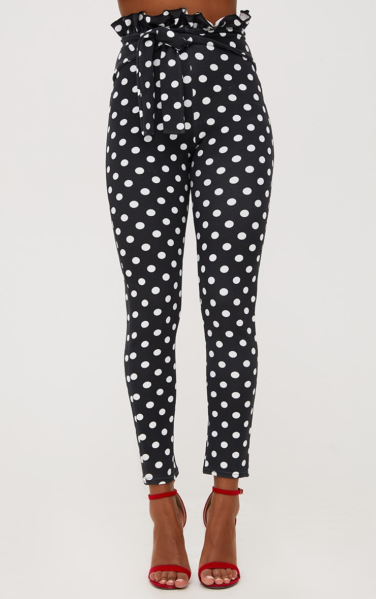 Black Polka Dot Paperbag Waist Skinny Trousers 2