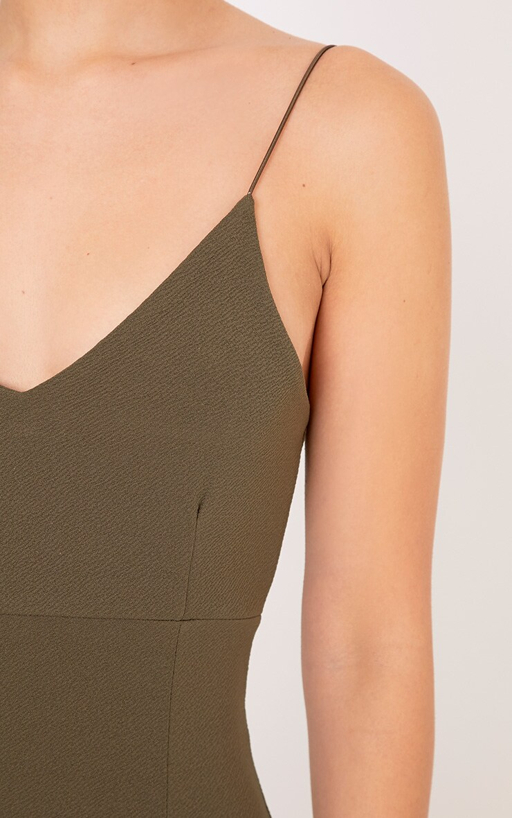Camayah Khaki Strappy Plunge Bodycon Dress 5