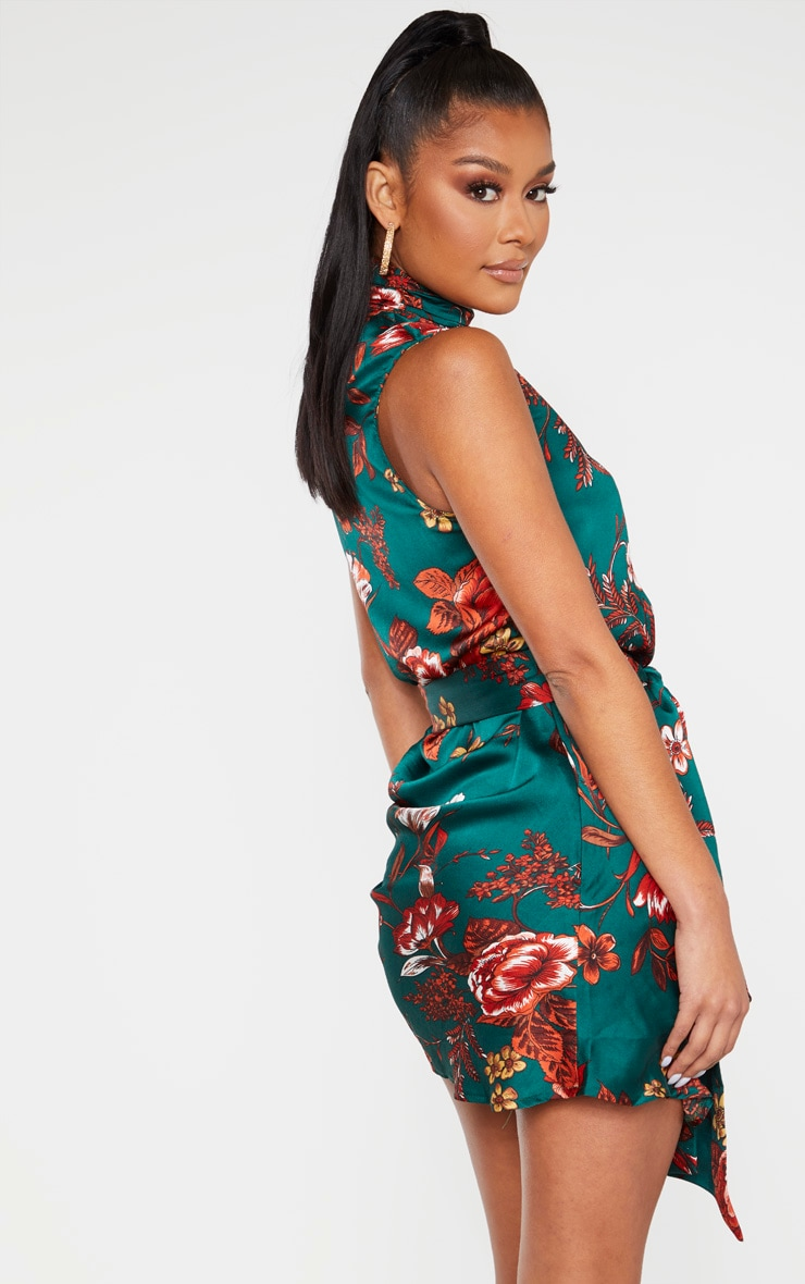 Emerald Green Floral Satin High Neck Side Knot Bodycon Dress 2