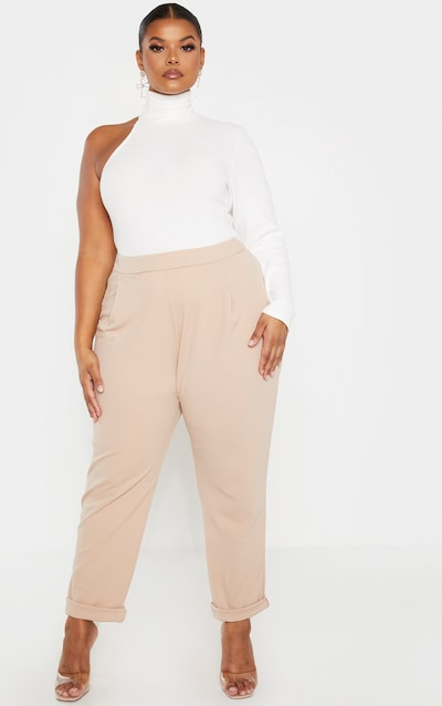 Plus Stone High Waist Tapered Trouser