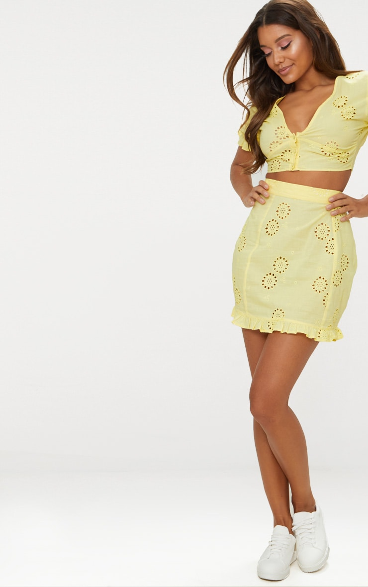 Lemon Embroidered Frill Hem Mini Skirt 4