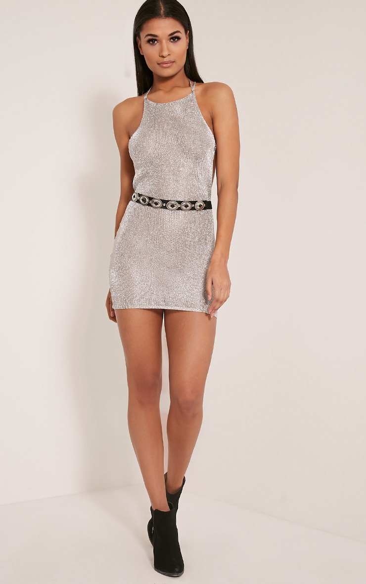 Charlay Silver Sheer Metallic Knitted Mini Dress 6