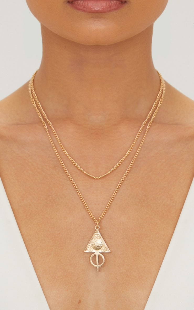 Gold Renaissance Triangle Pendant Double Layer Chain Necklace