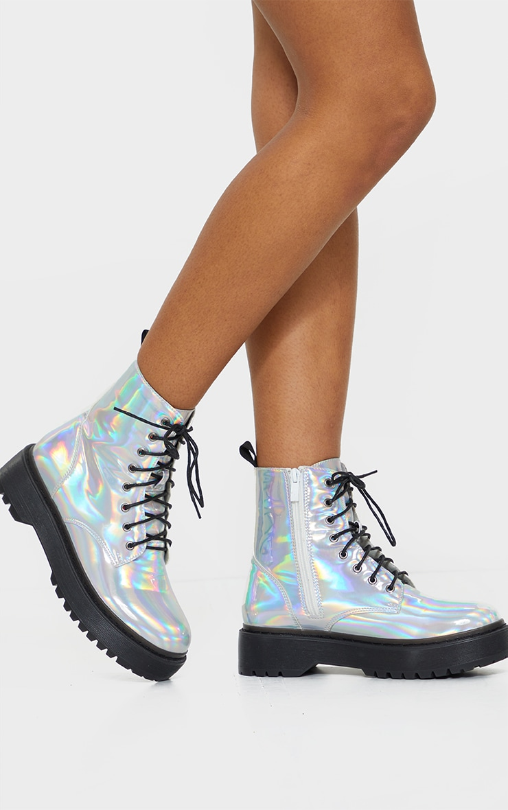 Holographic Lace Up Chunky Ankle Boots 2