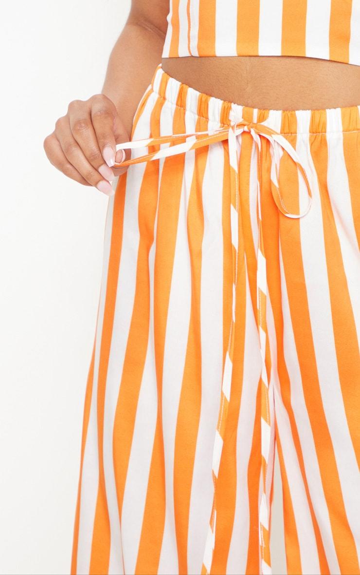 Bright Orange Stripe Wide Leg Pants 5