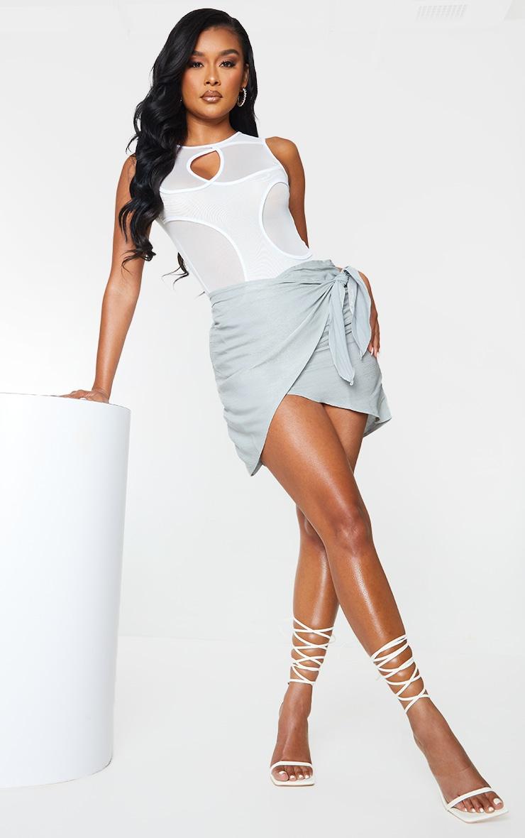 Grey Shimmer Wrap Over Woven Tie Waist Mini Skirt 1