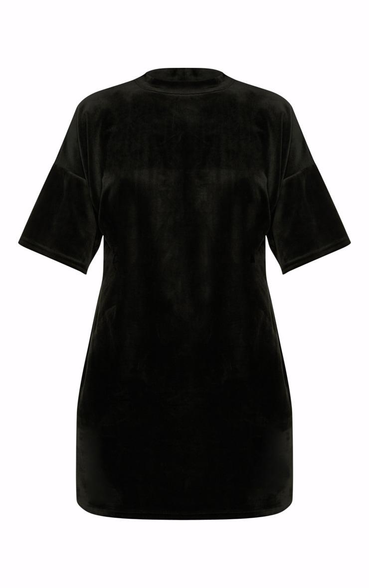 Black Velvet Short Sleeved T Shirt Dress 3