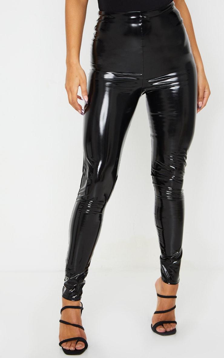 Legging taille haute en vinyle noir 2