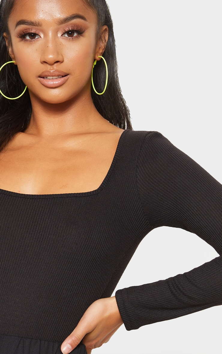 Petite Black Ribbed Square Neck Long Sleeve Bodysuit  6