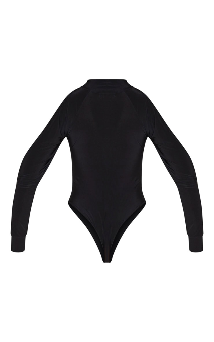 Black Slinky Split Long Sleeve Bodysuit 4