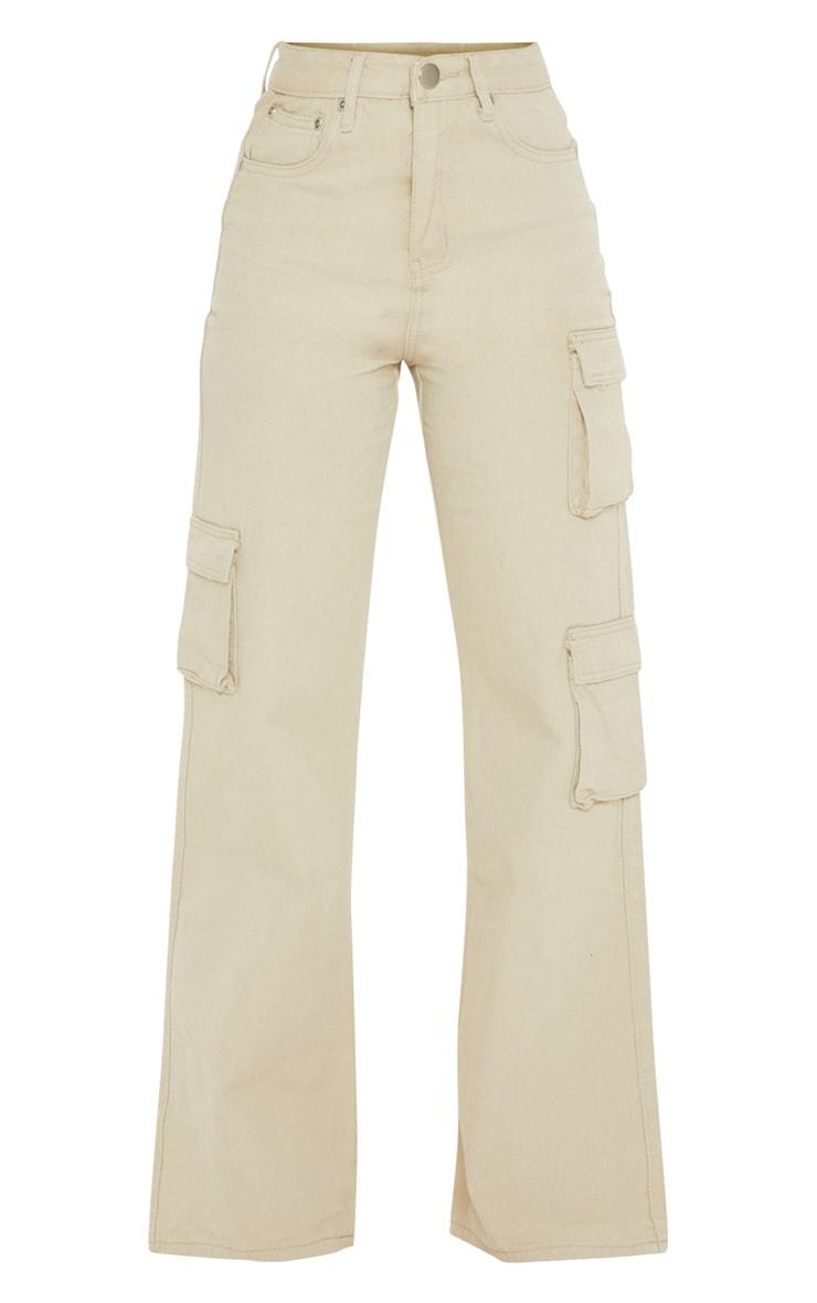 Petite - Jean cargo gris pierre à poches et jambes évasées 3