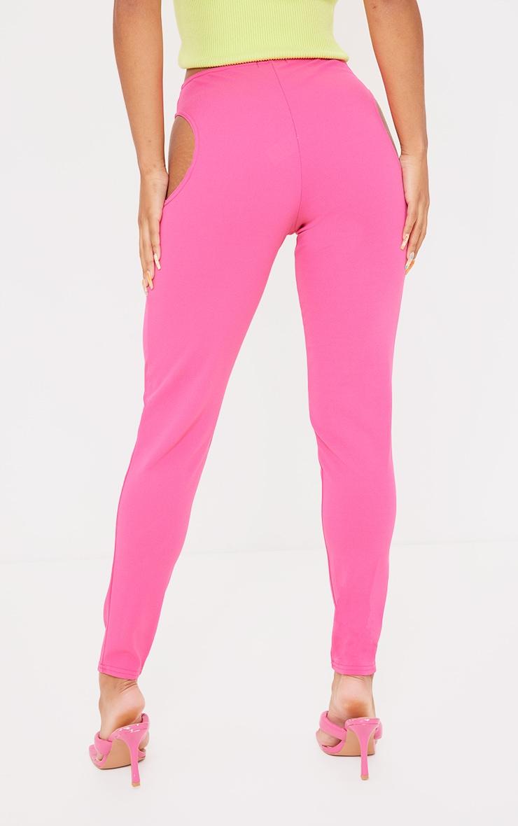 Hot Pink Crepe Cut Out Leggings 3