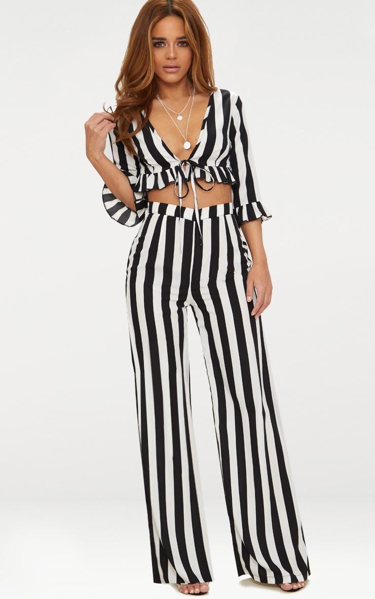 Petite Black Monochrome Stripe Tie Front Blouse 4